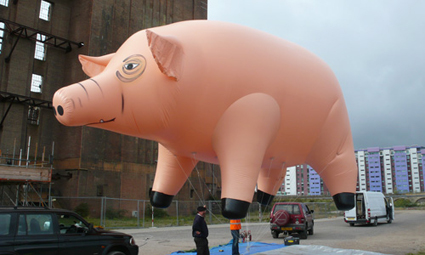 Full scale recreation of the Pink Floyd inflatable pig