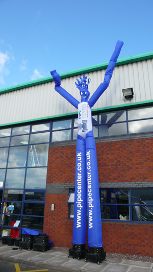 tall blue inflatable man