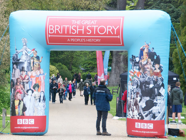 Giant inflatable archway providing entrance to BBC's The Great British Story