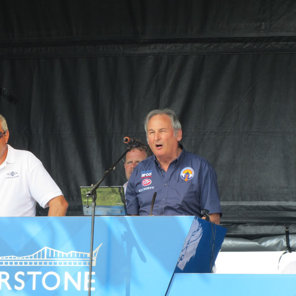 Noble speaking at CarFest South