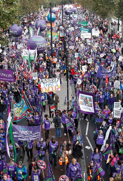 Unison parade balloons at Day of Action