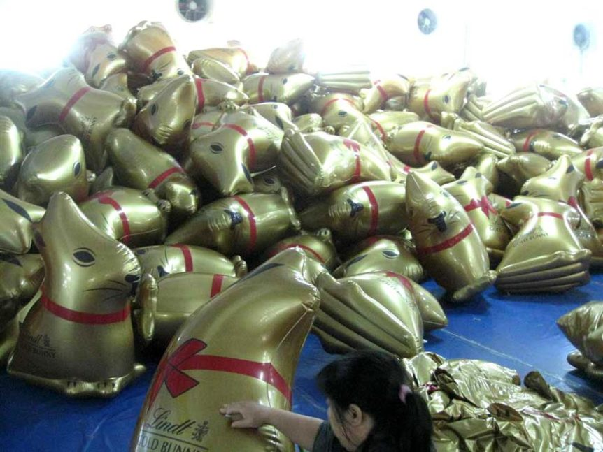 Gold inflatable Lindt bunnies