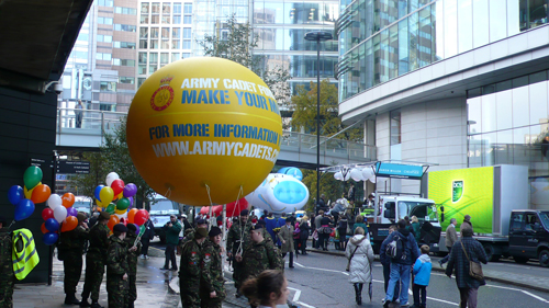 Yellow parade balloon for Army Cadets