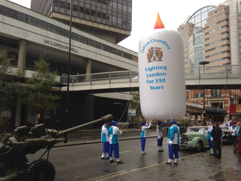Inflatable candle at Lord Mayor's Show