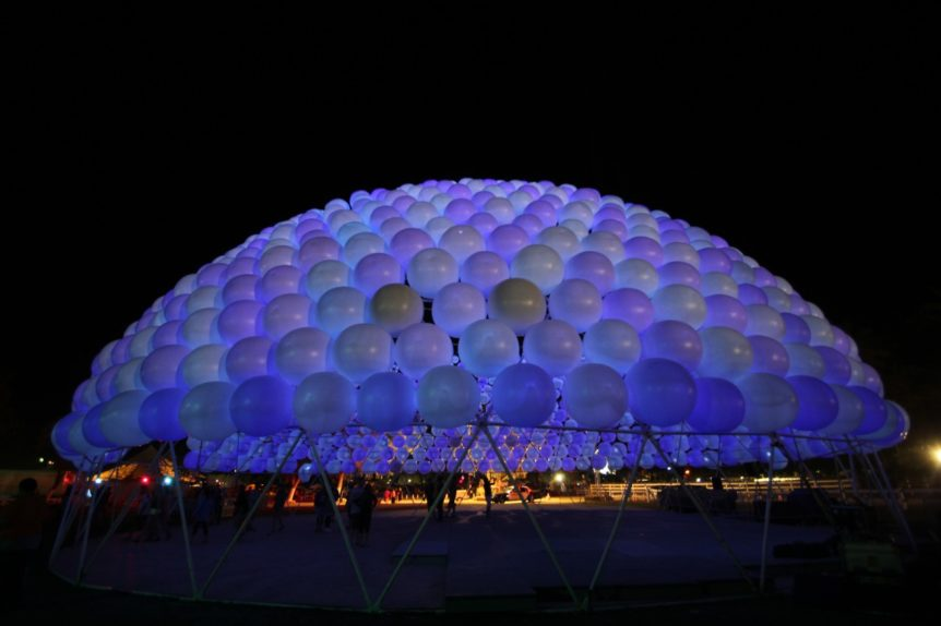 Dome of inflatable spheres at Coachella