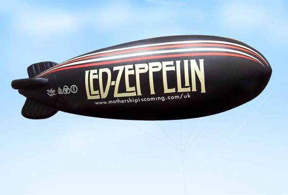 Led Zep blimp flying over London