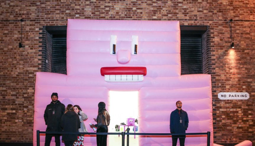 giant pink inflatable wall