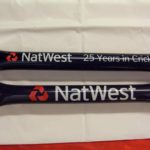 NatWest branded clapper tubes for cricket sponsorship