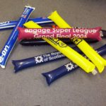 Branded inflatable clapper tubes for sporting events