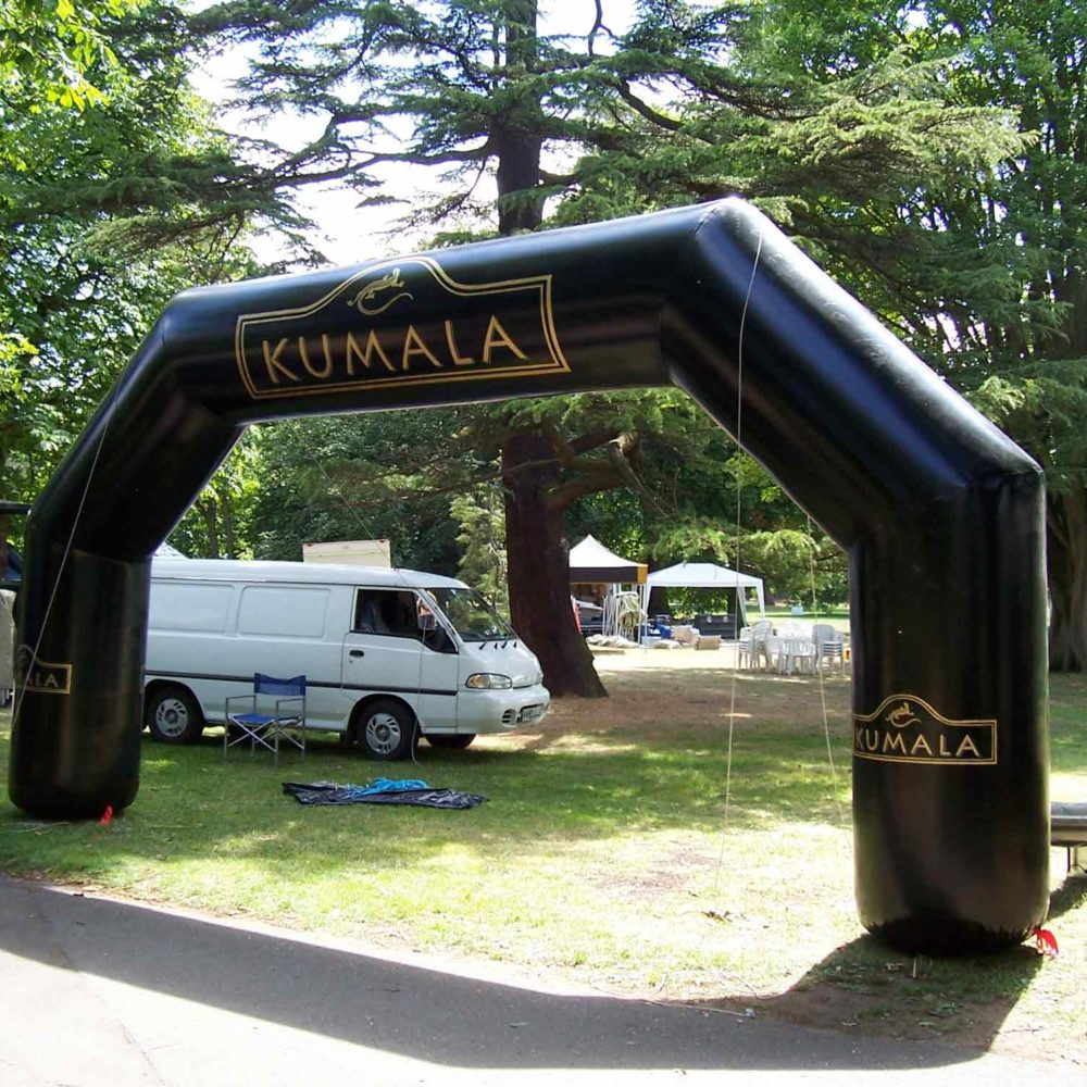 Kumala inflatable arch in a camping area