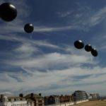 Art installation black balloons Brighton Pavilion
