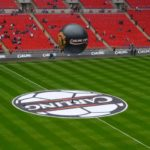 Giant inflatable Manchester United sphere at Carling Cup above football ground