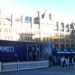 Blue helium filled sphere above Priority Moments outdoor exhibition stand