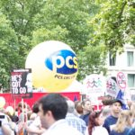 PCS yellow parade sphere at a campaign march