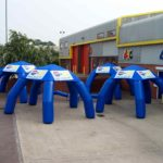4-legged arches outside ABC Inflatables workshop