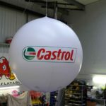 Suspended exhibition sphere for Castrol