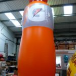 Huge inflatable Gatorade bottle in workshop
