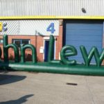 Inflatable letters spelling John Lewis