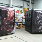 Decorated inflatable art cubes