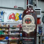 Inflatable Bacardi Oakheart bottle in ABC Inflatables workshop