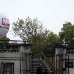 Parade spheres for Daily Mirror tethered to building