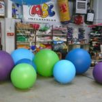 Collection of large colourful pushballs of various sizes