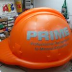 Huge hard hat inflatable for Prime