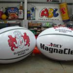 Giant inflatable Gloucester Rugby balls
