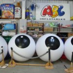 4 black and white large pushballs in ABC Inflatables' workshop