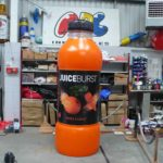Inflatable replica Juice Burst bottle in ABC Inflatables workshop