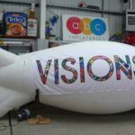 Colourful branding on hired blimp