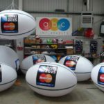Mastercard giant rugby balls for 2015 World Cup in workshop
