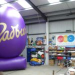 Enormous inflatable Cadbury's Easter egg shape in our workshop