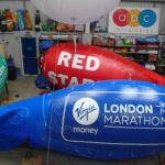 Colourful blimps with temporary branding