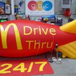 Branded MacDonalds Drive Thru site marking blimp
