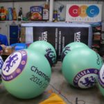 6 Chelsea Football Club push balls in ABC Inflatables workshop
