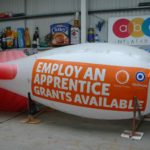 Branded rental blimp for Oldham College