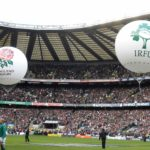 rugby match with inflatable spheres