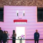 Ice Mountain inflatable pink wall with face