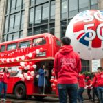 Route Master bus and Parade Sphere with Union Jack