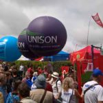 Exhibition spheres for CWU, Unison and NUT