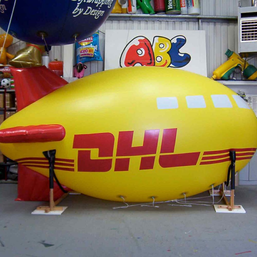 Custom yellow DHL Blimp by ABC Inflatables