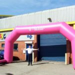 Branded T-Mobile pink inflatable race arch