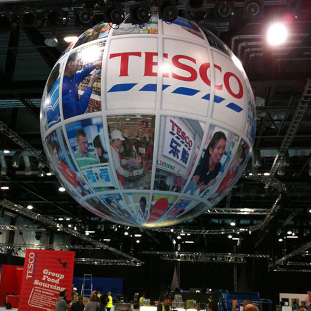 printed exhibition sphere for Tesco