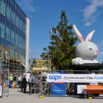 Cape building site with rented inflatable rabbit