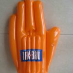 Giant orange inflatable hand