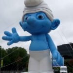 Inflatable Smurf character film promotion