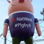 Pigby flying for NatWest - custom pig inflatable