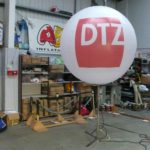 DTZ inflated sphere on metal stand