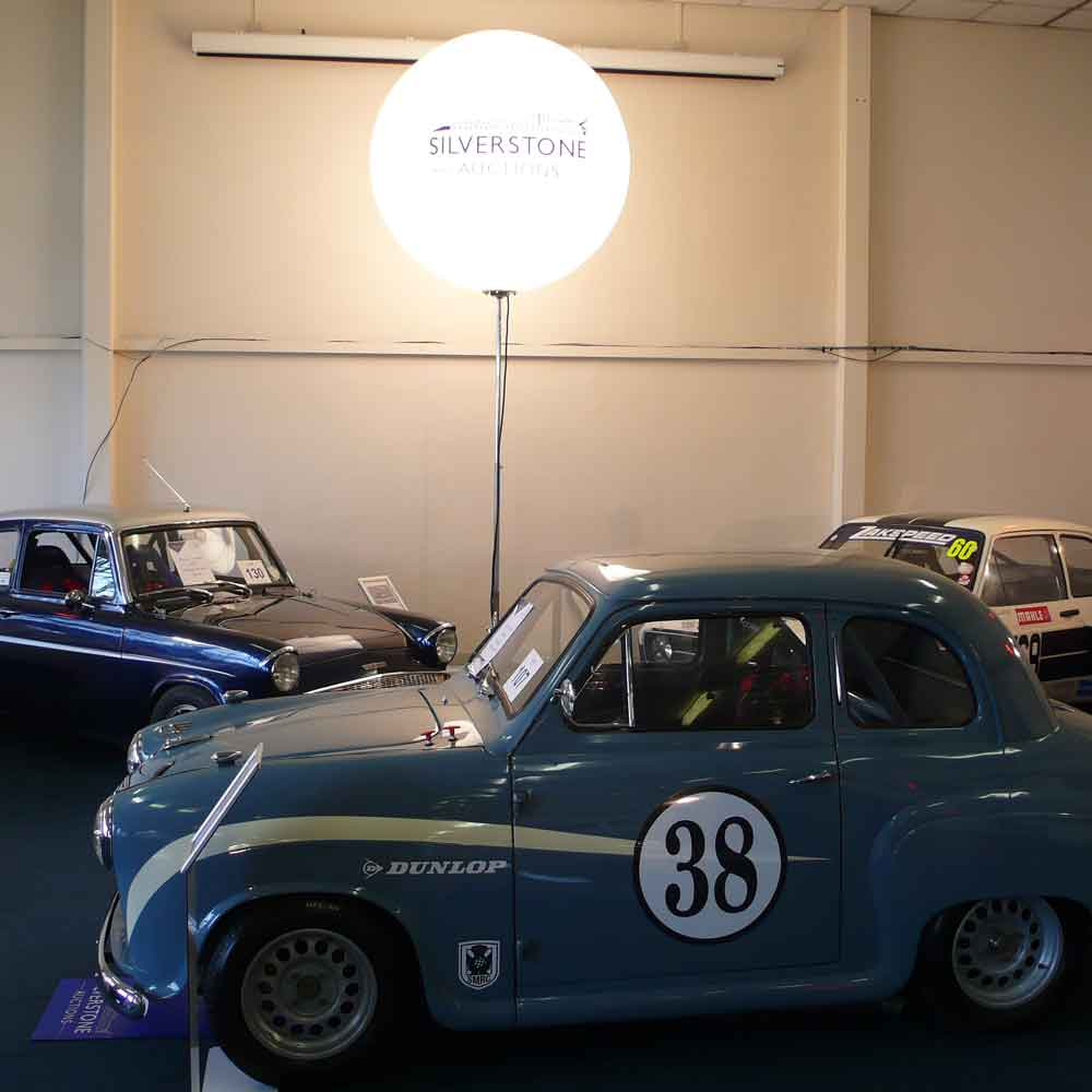 Branded lighting spheres for Silverstone Auctions